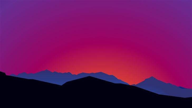 mountain landscape sunset minimalist 15k Mac Wallpaper