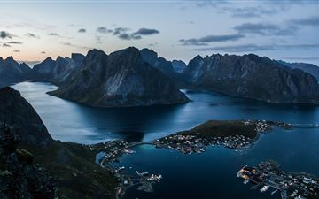 reine at lofoten islands at sunset 5k All Mac wallpaper