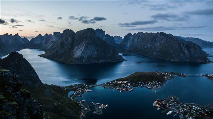 reine at lofoten islands at sunset 5k Mac Wallpaper