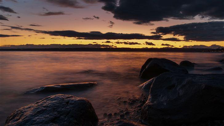 dark evening sea coast 5k Mac Wallpaper