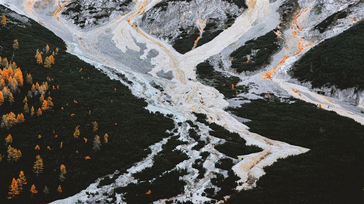 aerial view of frozen winter landscape 5k Mac Wallpaper