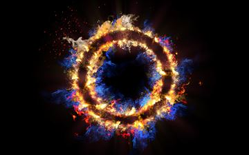 flame circle 3d abstract 5k MacBook Air wallpaper