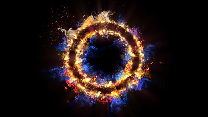 flame circle 3d abstract 5k Mac Wallpaper