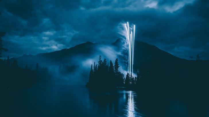 fireworks landscape 5k Mac Wallpaper
