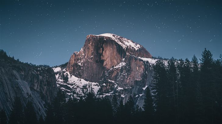 snow capped mountains during evening 8k Mac Wallpaper
