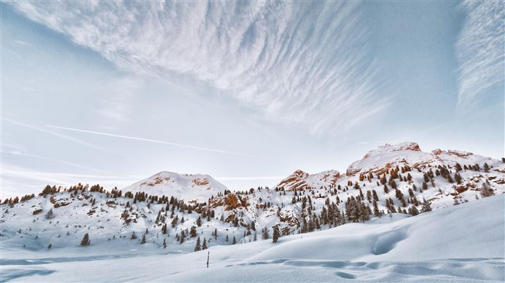 mountains covered in snow 5k Mac Wallpaper