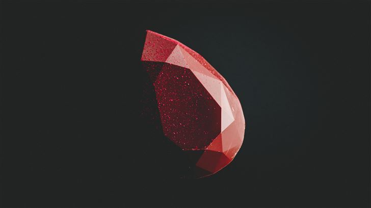 red diamond minimal dark 5k Mac Wallpaper
