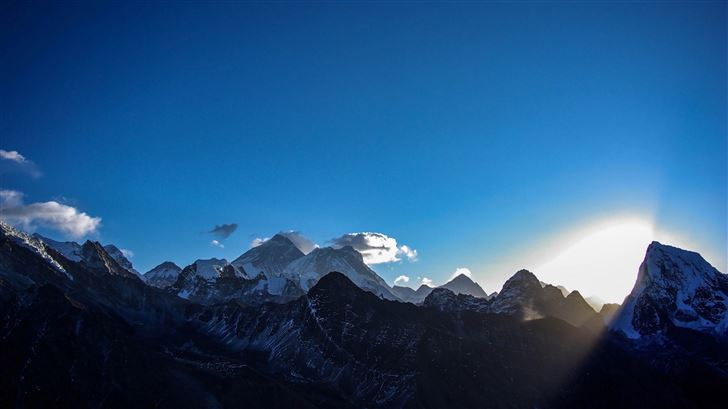 landscape early morning mountains lights 5k Mac Wallpaper