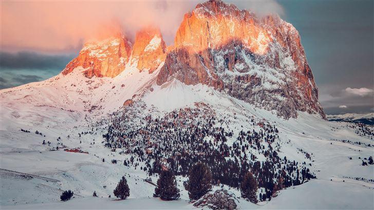 big rock mountain covered in snow 5k Mac Wallpaper