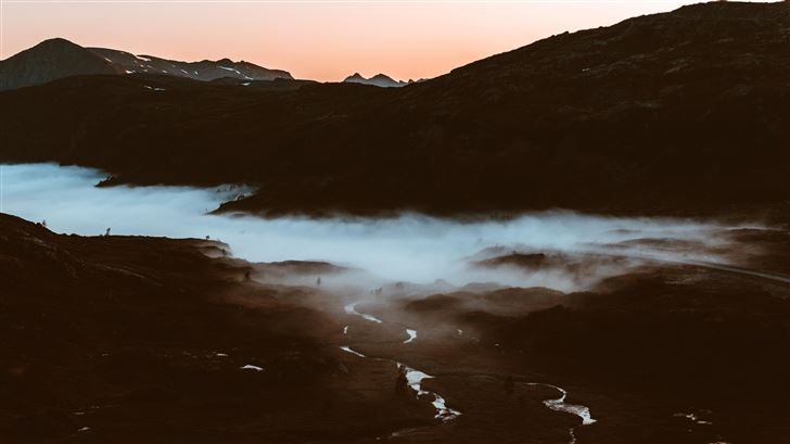 mountain ranges during golden hour Mac Wallpaper