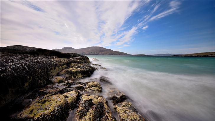 seascape front scenery blue rocks 5k Mac Wallpaper
