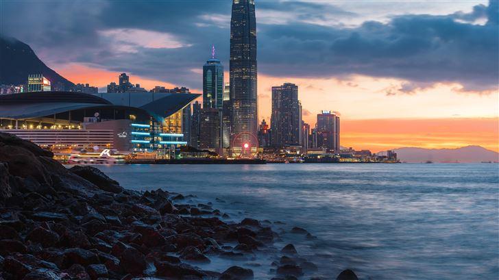 skyline during golden hour 5k Mac Wallpaper