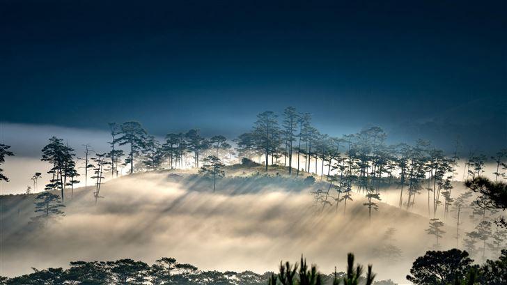 foggy morning hills 8k Mac Wallpaper
