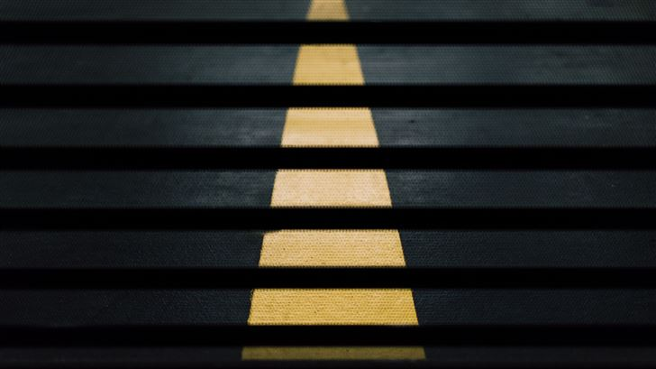 road street crossing yellow lines abstract 5k Mac Wallpaper
