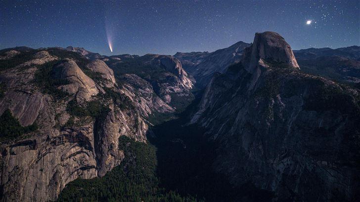 yosemite valley under moonlight 5k Mac Wallpaper