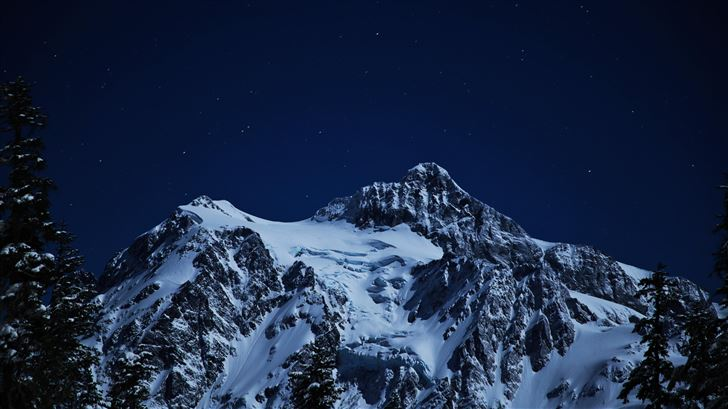 snow capped mountains during night time 5k Mac Wallpaper