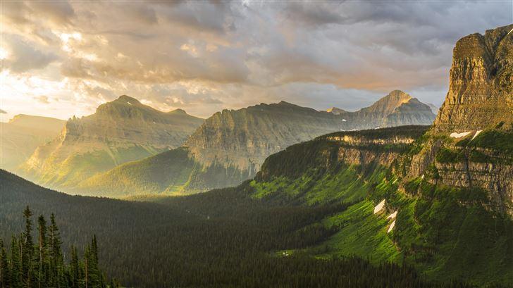 stormy sunrise at glacier national park 8k Mac Wallpaper