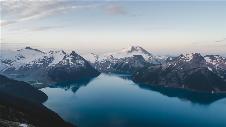 snow caped mountains under blue sky 5k Mac Wallpaper