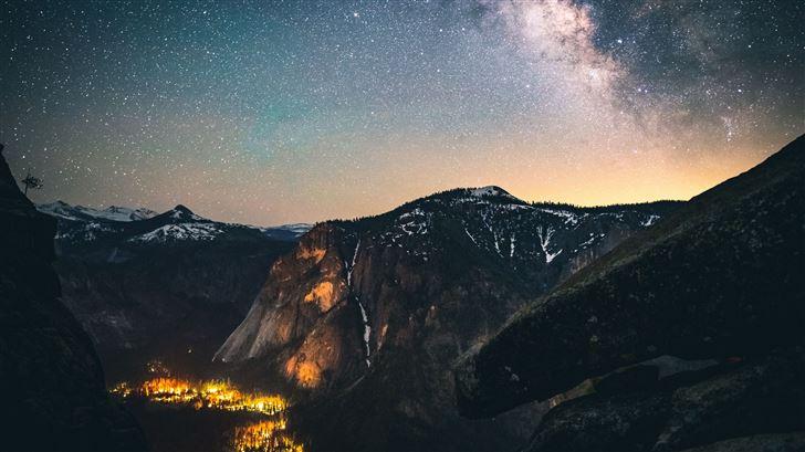 mountains sky stars 5k Mac Wallpaper