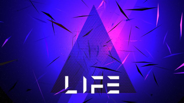 triangle abstract life typography 5k Mac Wallpaper