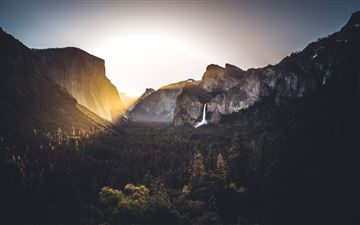 waterfall light flare nature outdoors yosemite 5k MacBook Pro wallpaper