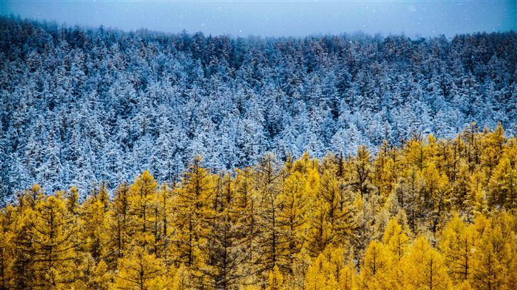 winter and autumn 5k Mac Wallpaper