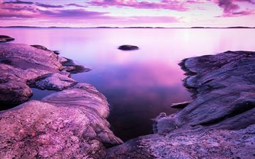 rocks pink scenery evening sea 8k MacBook Pro wallpaper