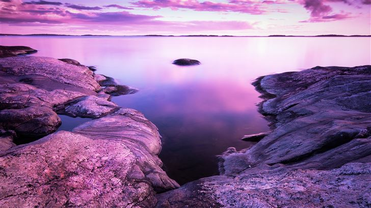 rocks pink scenery evening sea 8k Mac Wallpaper