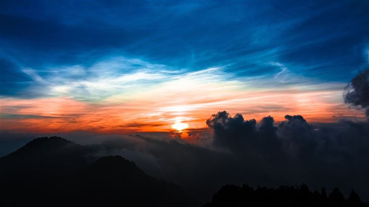 sun setting in clouds 5k Mac Wallpaper