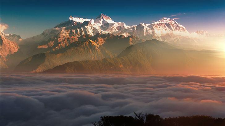 mountain landscape clouds 8k Mac Wallpaper