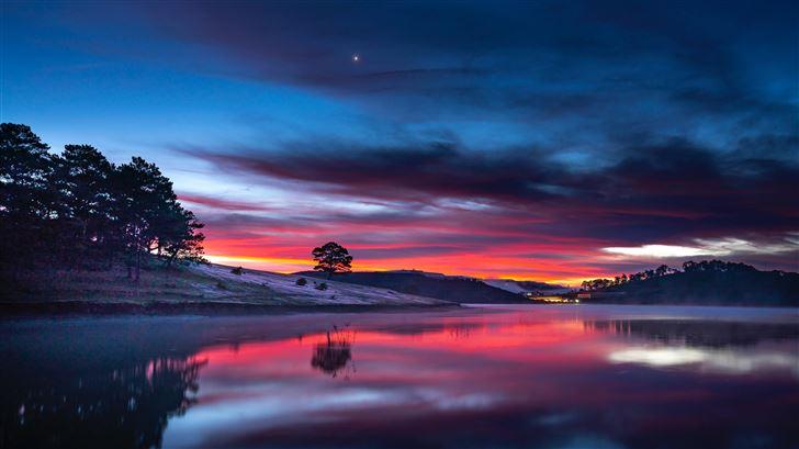 sunset clouds reflection in lake 8k Mac Wallpaper