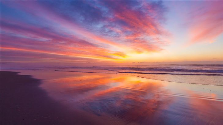 stunning beach sunrise 5k Mac Wallpaper