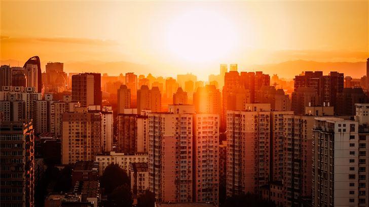 bird's eye view photography of high rise buildings Mac Wallpaper