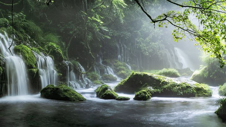 spring waterfall stone fog mist green forest 8k Mac Wallpaper