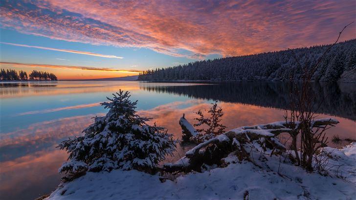 lake snow evening sunset 5k Mac Wallpaper