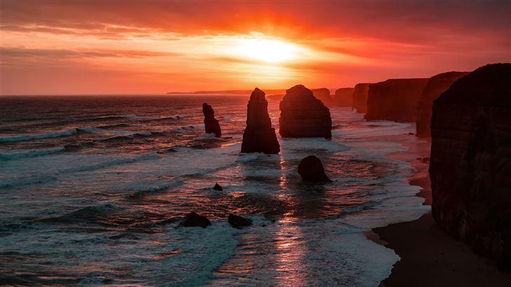 the twelve apostles coastline rock sunset 5k Mac Wallpaper