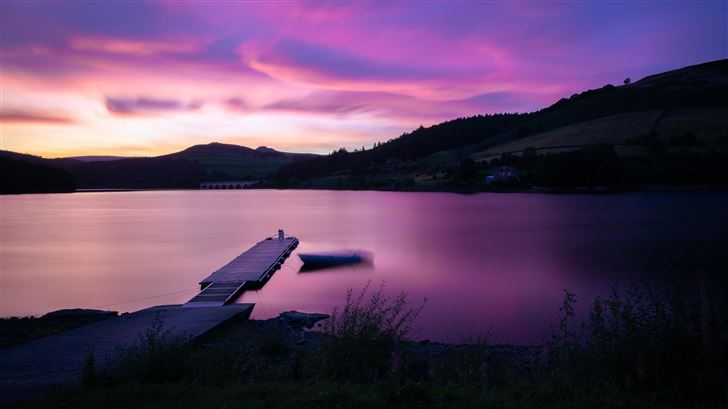 sunset at ladybower reservoir pier side 5k Mac Wallpaper