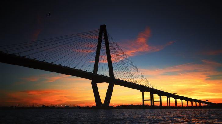 ravenel bridge suilhouette in united states 5k Mac Wallpaper