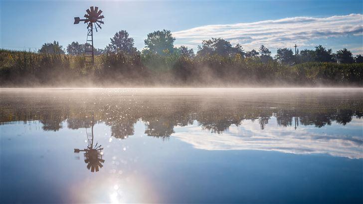 spring season lake reflection 5k Mac Wallpaper