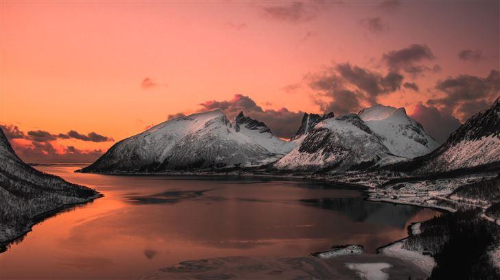 scenic photo of lake near mountains 5k Mac Wallpaper