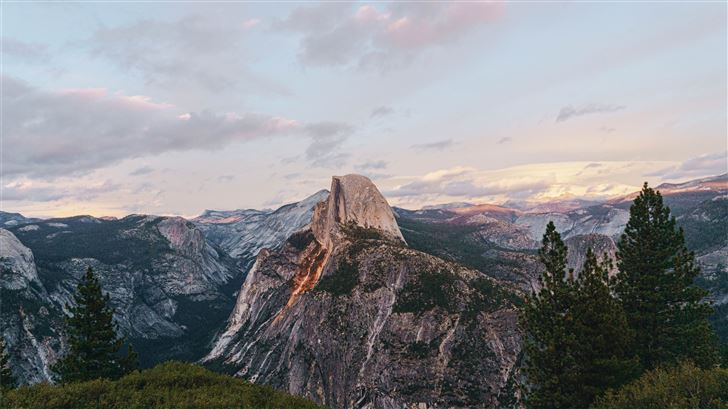Yosemite National Park Half Dome under blue and wh Mac Wallpaper