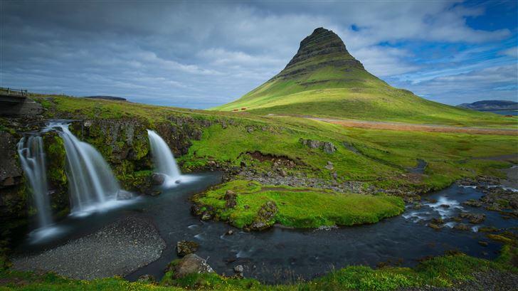 iceland mountains waterfalls kirkjufell 5k Mac Wallpaper