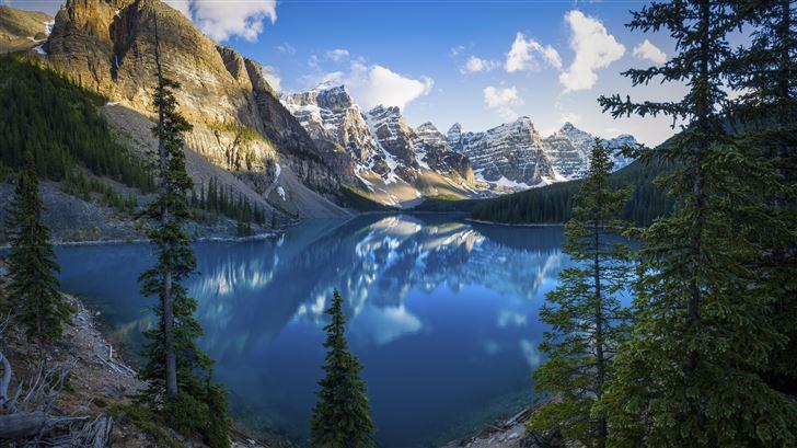 lake scenery alberta trees 5k Mac Wallpaper