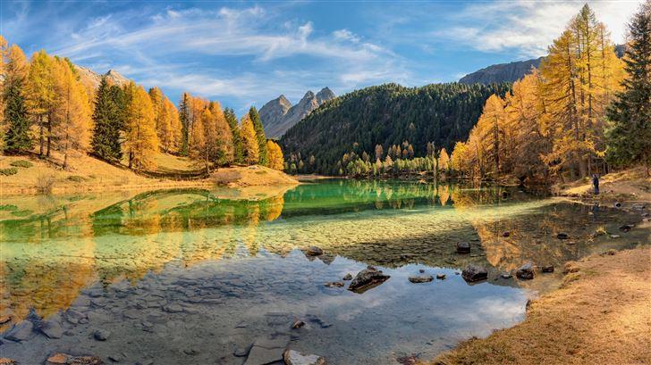 lai da palpuogna lake in switzerland 5k Mac Wallpaper
