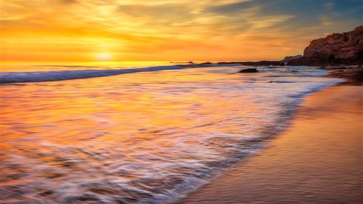 california ocean new port beach long exposure 5k Mac Wallpaper