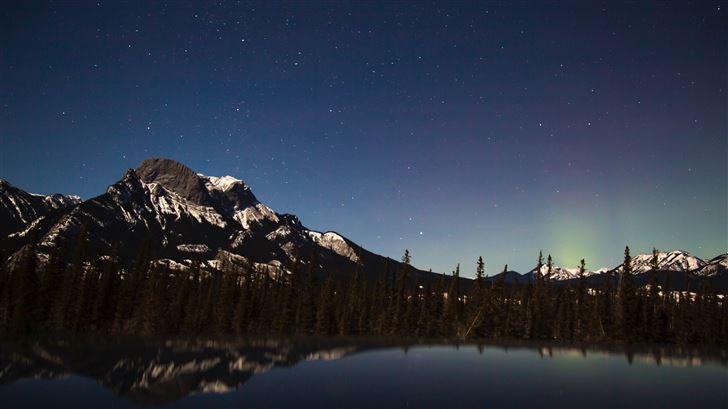 starry sky over mountains 5k Mac Wallpaper