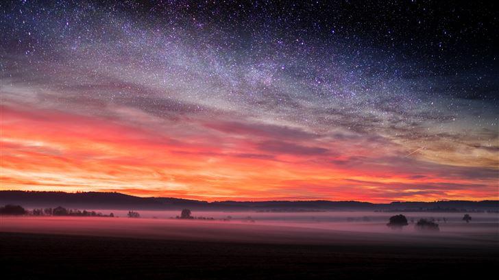 starry night sunset skyscape stars 5k Mac Wallpaper