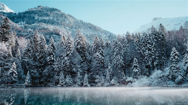 switzerland winter reflection 5k Mac Wallpaper