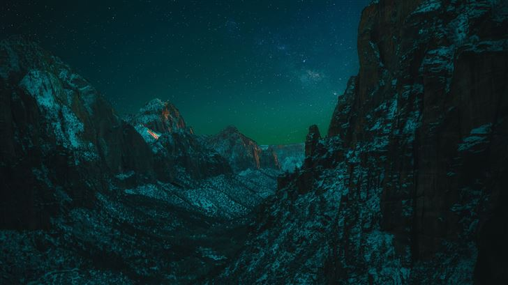 starry night in zion national park 5k Mac Wallpaper