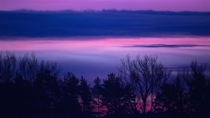 clouds forest landscape lilac purple serene sunris Mac Wallpaper